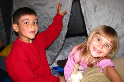 in tent