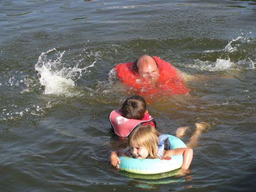 a chuck swimming