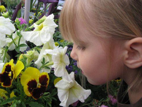 Brea smelling flowers