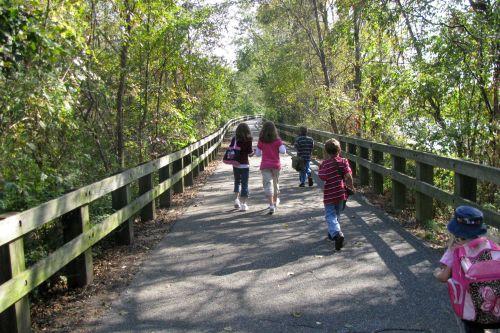 five children walking